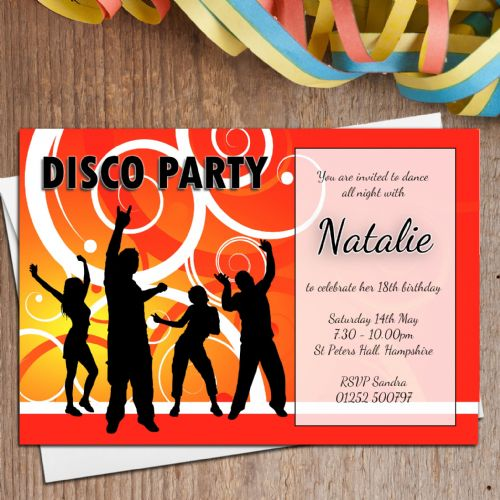 10 Personalised DISCO Birthday Party Invitations N2